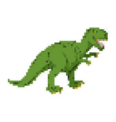 dinosaur pixel art tyrannosaurus pixelated dino vector image