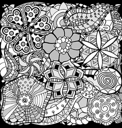 doodle flowers and leafs vector image