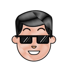 Drawing face man wearing sunglasses cartoon vector