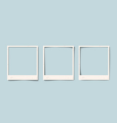 Empty white realistic paper old photo frame with vector