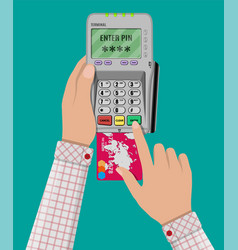 enters pin code for card on pos terminal vector image