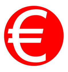 euro sign white icon in red circle on vector image