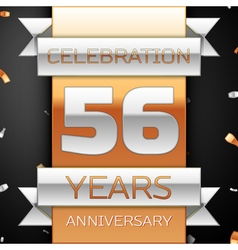 Fifty six years anniversary celebration golden and vector image