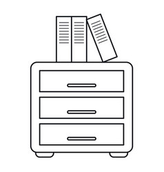 File cabinet archive workplace outline vector