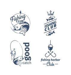 Fishing club emblems vector