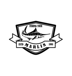 fishing tour emblem template with marlin design vector image