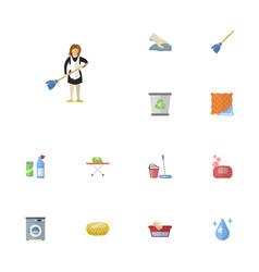 Flat icons clothes washing aqua mopping and vector