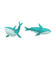 friendly sharks set amusing sea animal with cute vector image
