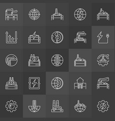geothermal power linear icons vector image