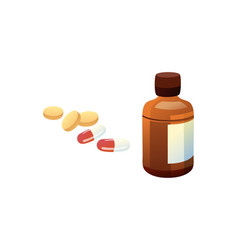 Glass bottle and pills set vector