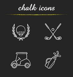 golf championship chalk icons set vector image