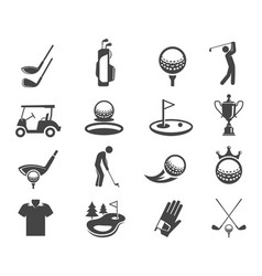 golf sport game glyph icons set vector image