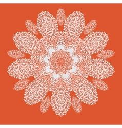 Hand drawn mandala on orange background All vector image