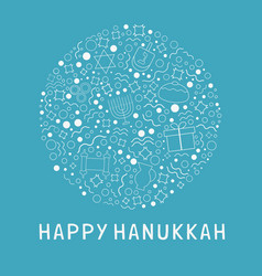 hanukkah holiday flat design white thin line vector image