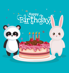 Happy birthday card with bear panda and rabbit vector
