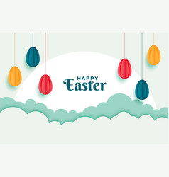 happy easter banner with eggs decoration design vector image