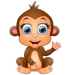 happy monkey cartoon waving hand vector image