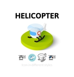 Helicopter icon in different style vector image