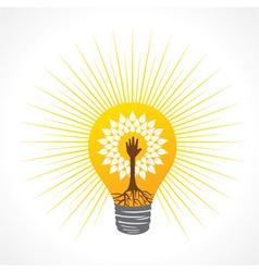 Helping hand make tree inside the bulb vector