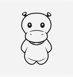 hippo line vector image