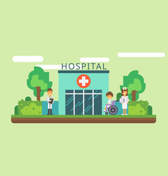 Hospital facade and ambulance car flat vector