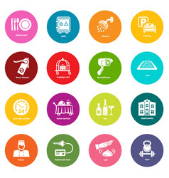 hotel service icons set colorful circles vector image