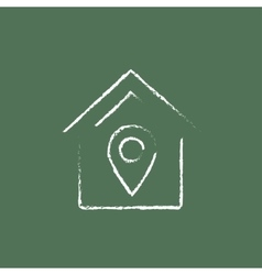 House with pointer icon drawn in chalk vector