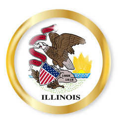 Illinois flag button vector