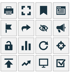 Interface icons set with browser hide reload and vector