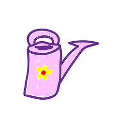 Isolated watering can in a deliberately childish vector