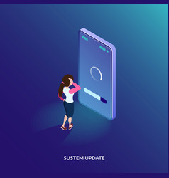 isometric system update concept software update vector image