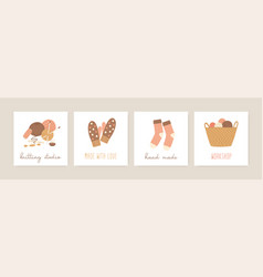 Knitting social media banners templates set vector