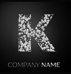 letter k logo silver dots alphabet logotype vector image