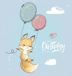 Little fox with balloon vector