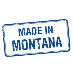 Made in montana blue square isolated stamp vector