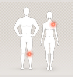 male and female silhouettes with pain circles on vector image