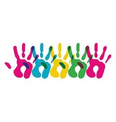 Multicolor diversity hands symbol vector