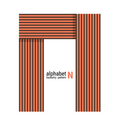 N - unique alphabet design with basketry pattern vector