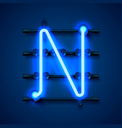Neon font letter n art design signboard vector