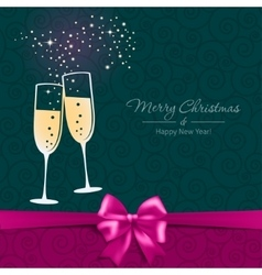 New Year card with glasses of champagne vector image