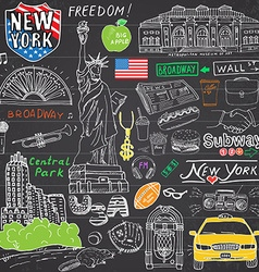 new york city doodles elements hand drawn set vector image