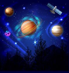 Night sky cosmos composition vector