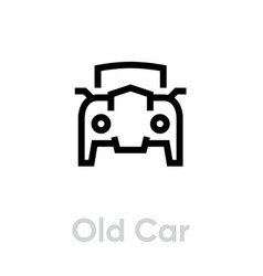 old retro car icon editable line vintage vector image