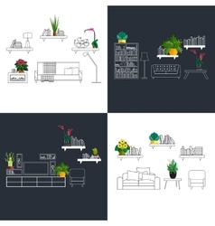 Outline interior set decorated with flat homeplant vector
