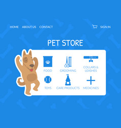 pet store landing page animal products website vector image