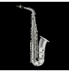 photorealistic saxophone isolated on a black vector image
