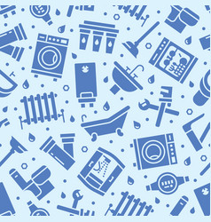 plumbing service seamless pattern with flat vector image
