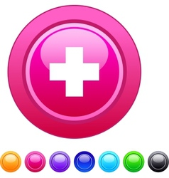Plus circle button vector image vector image