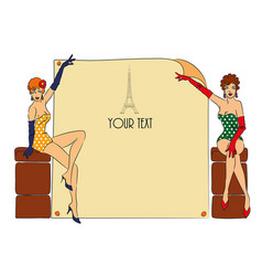 Postcard with two pin-up girls vector