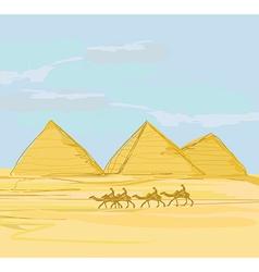 Pyramids giza landscape vector